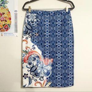 MOULINETTE SOEURS Mosaic Floral Print Pencil Skirt